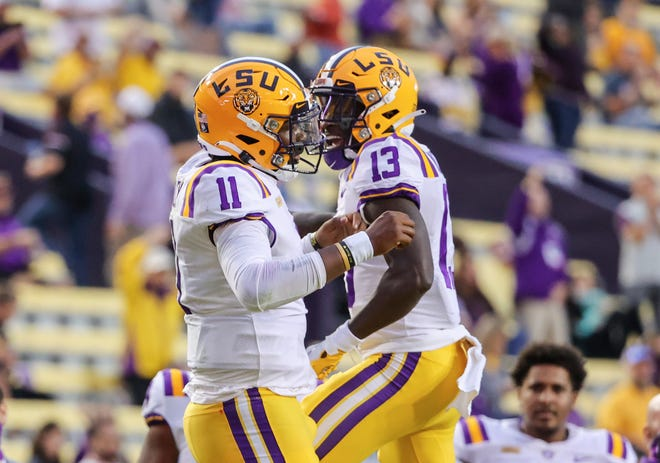 LSU wide receiver Jontre Kirklin (13) scored the Tigers' first touchdown against Alabama in Tiger Stadium since 2014 on Saturday night to  cut Alabama's lead to 21-7 in the second quarter.