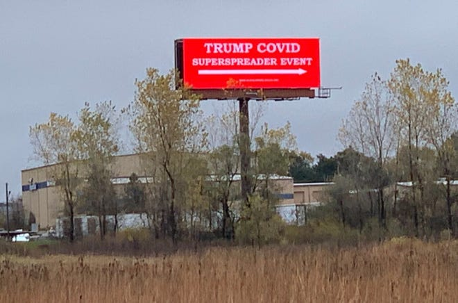 An electronic billboard message from the advocacy group Rural America 2020  was placed along I-94 at Highway 16, near where Trump is set to hold a rally at Waukesha County Airport.