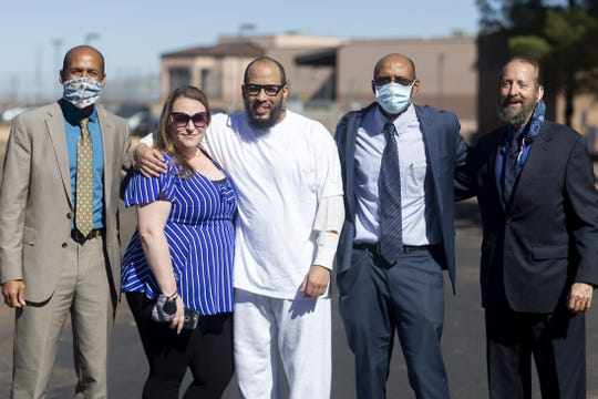 From left-to-right are Jacq Wilson, Cassandra Sabatino, Neko Wilson, Jacque Wilson and Lee Phillips outside of the Navajo County Jail in Holbrook on Oct. 23, 2020.