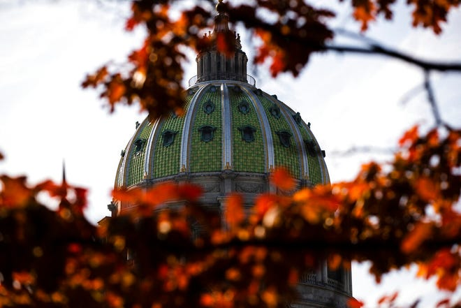 FILE- In this file photo from Nov. 19, 2019, the dome of the Pennsylvania Capitol is visible through the trees in Harrisburg, Pa. There are 203 House seats and 25 of 50 Senate seats up for election on Nov. 3, when voters will decide whether to extend gains Democrats made two years ago or tighten the majority hold Republicans have long held over both chambers of the Pennsylvania Legislature. (AP Photo/Matt Rourke, File)