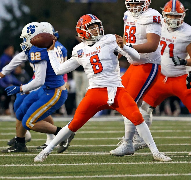 San Angelo Central quarterback Malachi Brown gets ready to pass against Frenship during a District 2-6A football game at Peoples Bank Stadium in Wolfforth on Friday, Oct. 23, 2020. Central won 35-7 to improve to 2-0 in district.
