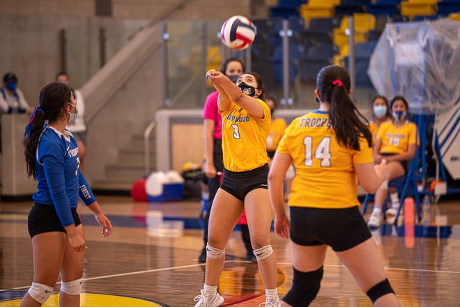 Eastwood player Alina Gutierrez passes the ball after a serve. After losing the first set, Eastwood High School's varsity volleyball team defeated Eastlake High School in four sets, 3-1 on Oct. 24, 2020.