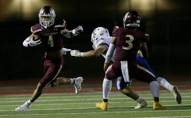Andress wide receiver Jeremiah Cooper racks up another touchdown against Bowie. Andress defended their home field in a big way winning 55-0 against Bowie Friday, October, 23, 2020 at Andress High School.