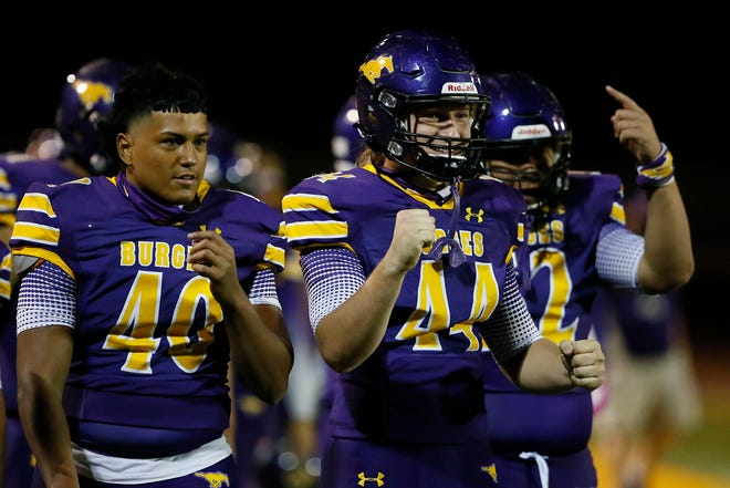 Burges celebrates during the game against Jefferson in 2-5A, division II game Friday, Oct. 23, at Burges High School in El Paso. Burges won 42-0 against Jefferson.