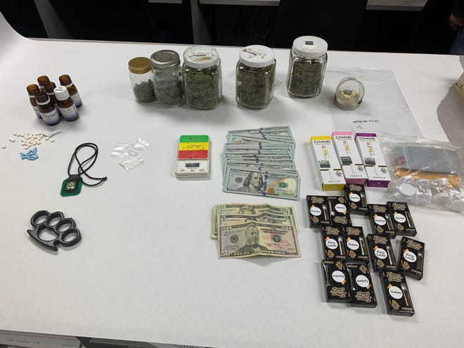 Items seized during a narcotics investigation on Friday in Oxnard, including  Xanax, fentanyl, cocaine, marijuana, packaging material, a scale and cash.