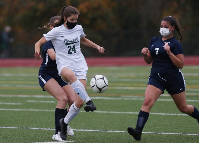 Pleasantville defeated Briarcliff  4-0 in girls soccer action at Briarcliff High School Oct. 24, 2020.
