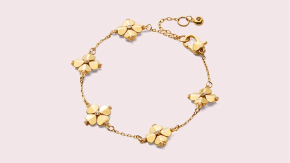 This floral charm bracelet is as charming as they come.