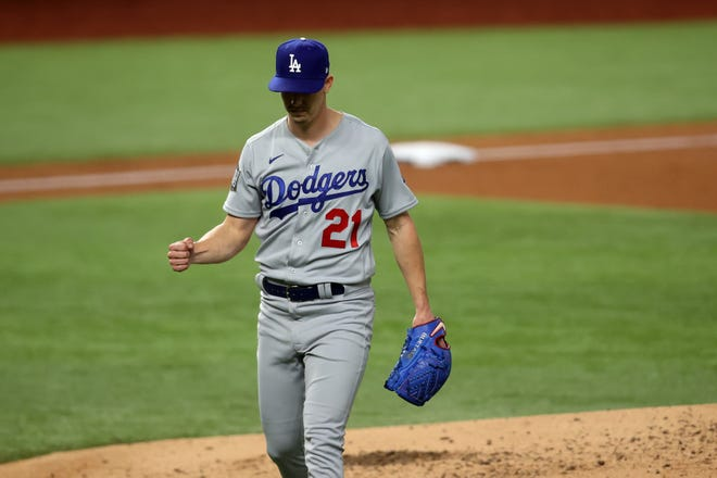 Walker Buehler strikes out 10 over six innings in Game 3.