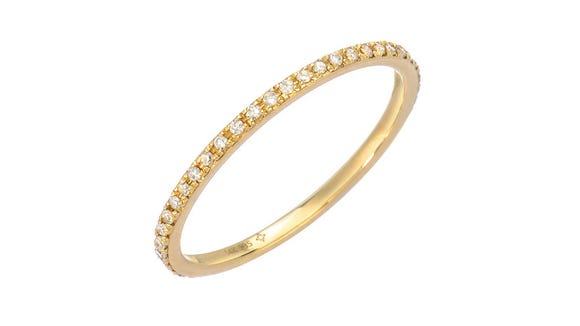 Pick from 14K yellow, rose or white gold in this delicate diamond band.