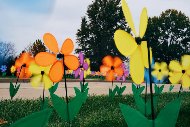 Floral garden windmills are seen alongside the street leading to 4700 S. Providence Road, where the Alzheimer's Association held a drive-thru promise garden ceremony on Sunday afternoon to honor those who are impacted by the disease.