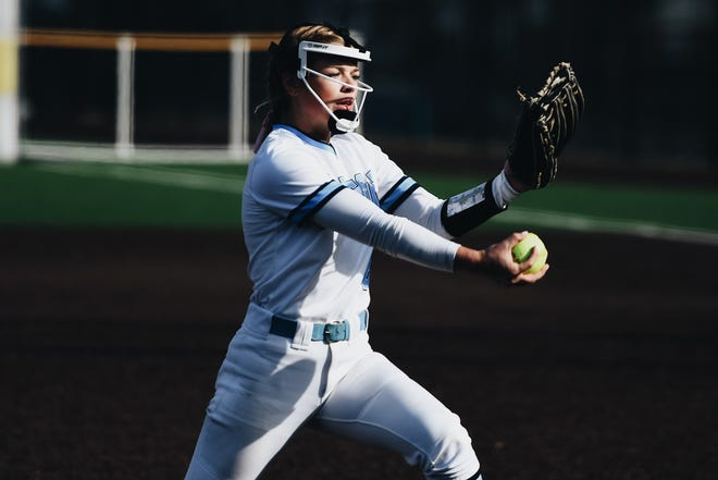 Tolton pitcher Paige Bedsworth (6) delivers the ball against Kelly during a Class 2 semifinal game Saturday at Hickman High School.