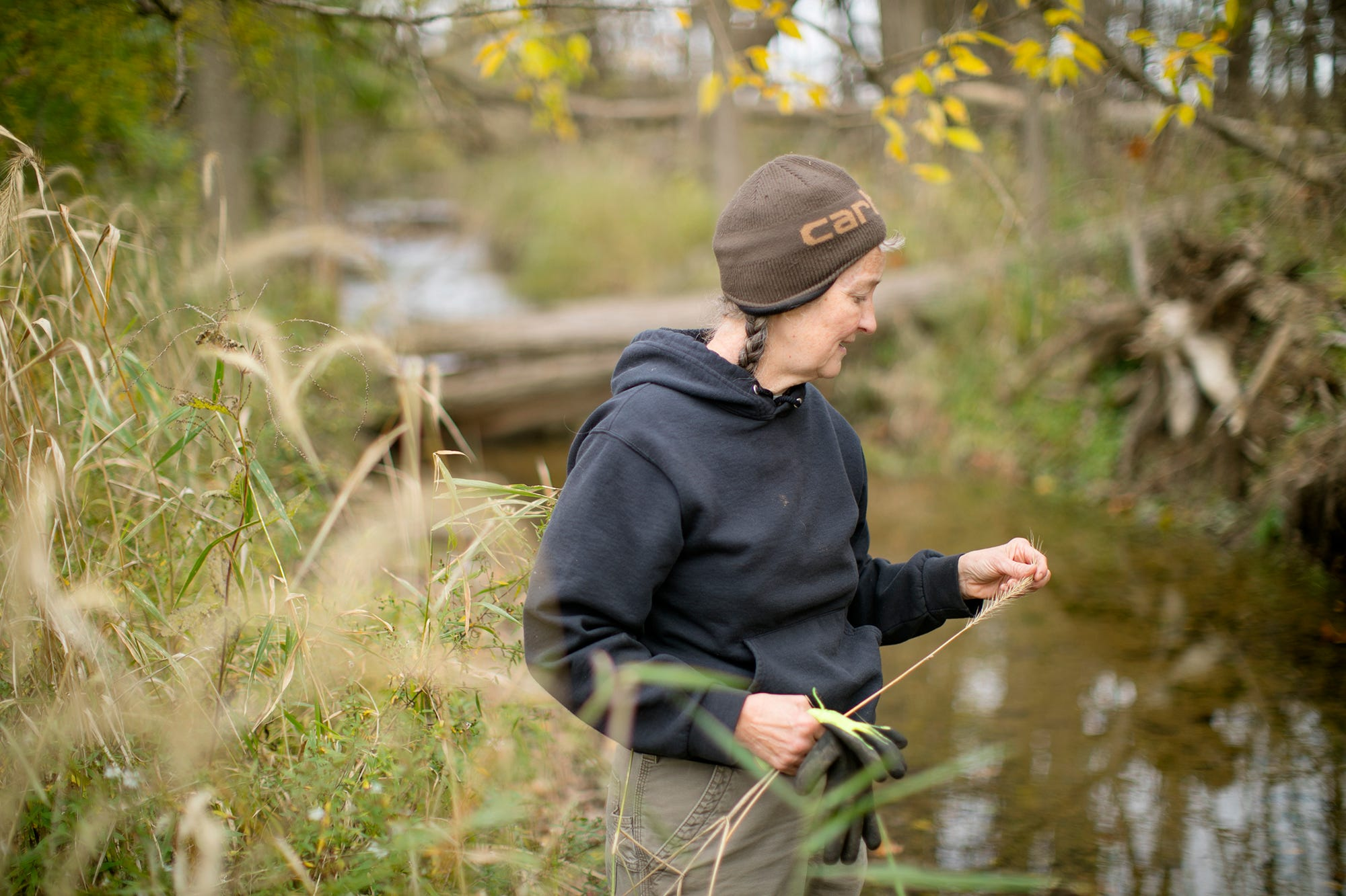 Donna Schwab, a retired wildlife biologist, is always working on her land and stream that she is restoring in North Lewisburg, Ohio, October 25, 2020. The Waters of the US rule had protected the stream and others like it until changes were made by the Trump administration.
