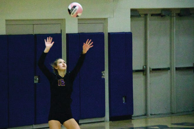 Chloe Jones serves for Waukee on Thursday, Oct. 22 during a regional matchup with Urbandale.