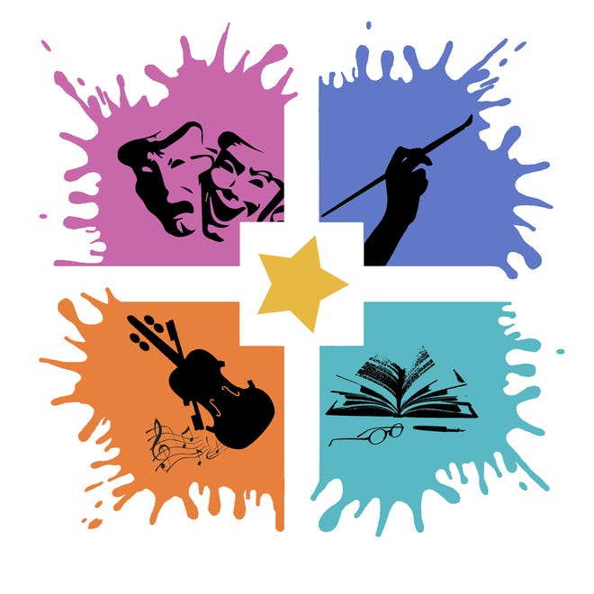 The Columbia Arts Council's logo is a variant of the City of Columbia logo, which was designed after the city's downtown square showcasing the diverse range of arts within the community.