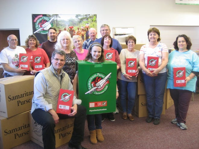 Operation Christmas Child volunteers are shown last year at Ebenezer Church, Greencastle, which will be a collection site again this year.