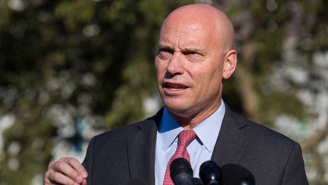 In this Monday, Sept. 16, 2019 file photo, Marc Short, chief of staff for Vice President Mike Pence, speaks with reporters at the White House in Washington. Vice President Mike Pence will maintain an aggressive campaign schedule this week the White House said Saturday, Oct. 24, 2020 despite his exposure to Marc Short, his chief of staff who tested positive for the coronavirus.