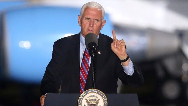 Vice President Mike Pence speaks to supporters Saturday, Oct. 24, 2020, in Tallahassee, Fla. Pence plans to campaign in Erie Monday on the eve of the presidential election.