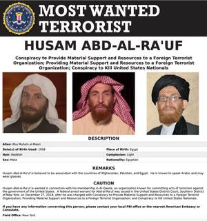 This image released by the FBI shows the wanted poster of al-Qaida propagandist Husam Abd al-Rauf, also known by the nom de guerre Abu Muhsin al-Masri. Afghanistan claimed Sunday it killed the top al-Qaida propagandist on an FBI most-wanted list during an operation in the country's east, showing the militant group's continued presence there as U.S. forces work to withdraw from America's longest-running war amid continued bloodshed.  Al-Qaida did not immediately acknowledge al-Rauf's reported death. The FBI, the U.S. military and NATO did not immediately respond to requests for comment.