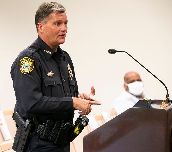 Ocala Police Chief Greg Graham addressed the Ocala City Council in August when council was discussing the mask ordinance.