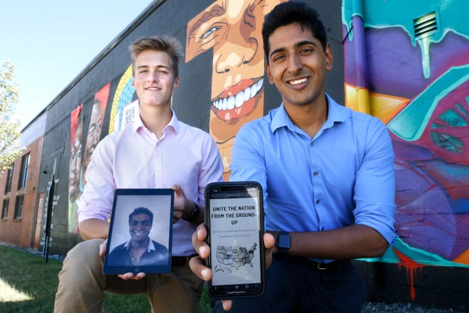 Lucien Gaitskell, left, a senior at Wheeler, holds an iPad showing Shivesh Nehrotra at Yale, where he's a freshman. Brown freshman Arvind Sridhar, right, displays a screen from the Candivote website. The three friends from Wheeler created Candivote to show voters how to have a voice in their towns and pull their politicians back into working together.