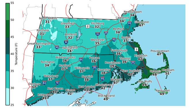 Morning lows for Sunday, October 25.