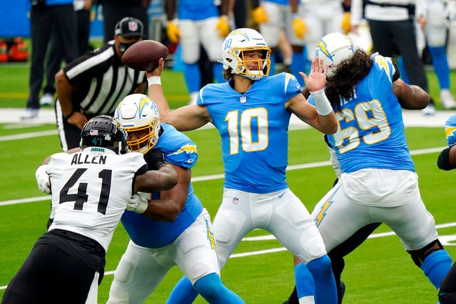Los Angeles Chargers quarterback Justin Herbert (10) throws against the Jacksonville Jaguars during the first half on Sunday. (AP Photo/Alex Gallardo)