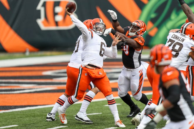 Oct 25, 2020; Cincinnati, Ohio, USA; Cleveland Browns quarterback Baker Mayfield (6) throws a pass against the Cincinnati Bengals in the first half at Paul Brown Stadium. Mandatory Credit: Katie Stratman-USA TODAY Sports