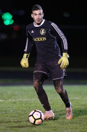 Sam Cipriano of Jackson is shown in action against Geneva in their Division I sectional final at Jackson on Saturday, Oct. 24, 2020.