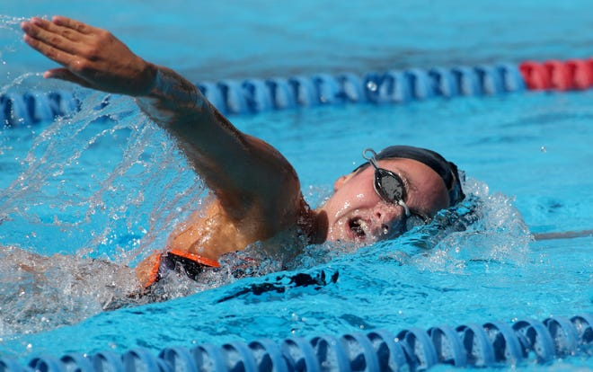 Sarasota High's Mercedes Traba swims in the girls 200-yard freestyle event during the Class 3A-District 8 swim meet at the Selby Aquatics Park in Sarasota on Saturday.