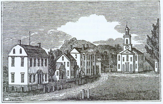 The Norwichtown Green, site of Norwich's original settlement, in 1836.