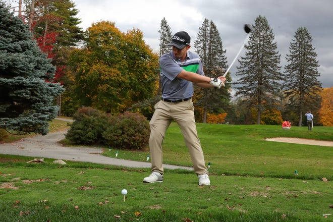 Andre Manganelli, of Kingston, on the tee box during the first annual Orange County Fall Classic at Osiris Country Club in Walden.