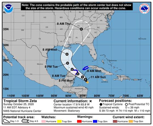 Tropical Storm Zeta as of 11 a.m. Sunday, Oct. 25