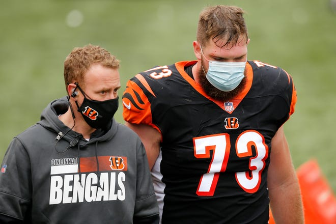 """It is expected that tackle Jonah Williams (73) and Bobby Hart are expected to be ready against the Washington Football Team on Sunday. It's not clear who might get the starts. """"They're not easy decisions you got to make,"""" head coach Zac Taylor said."""