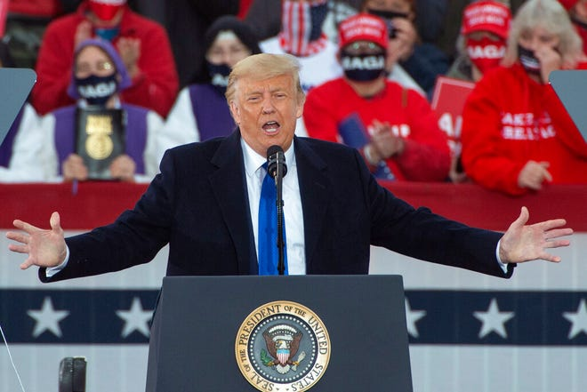 President Donald Trump speaks during a campaign rally at the Pickerington County Fairgrounds in Circleville, Ohio, Saturday Oct. 24, 2020. (AP Photo/Phil Long)