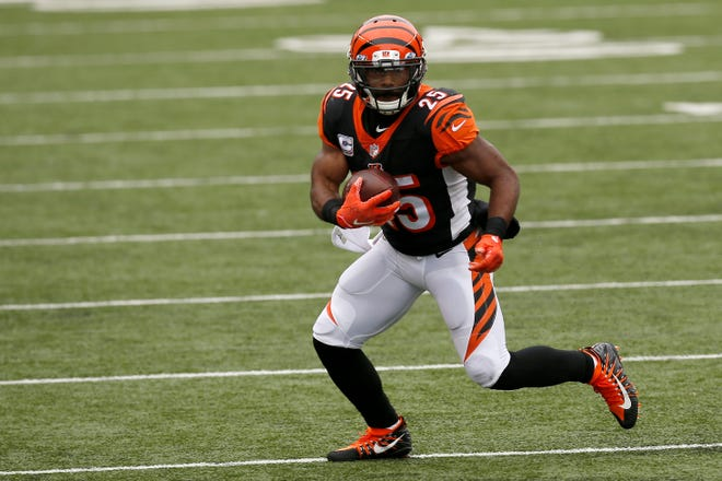 Giovani Bernard had 3,697 rushing yards and 22 touchdowns in 115 career games all in Cincinnati.