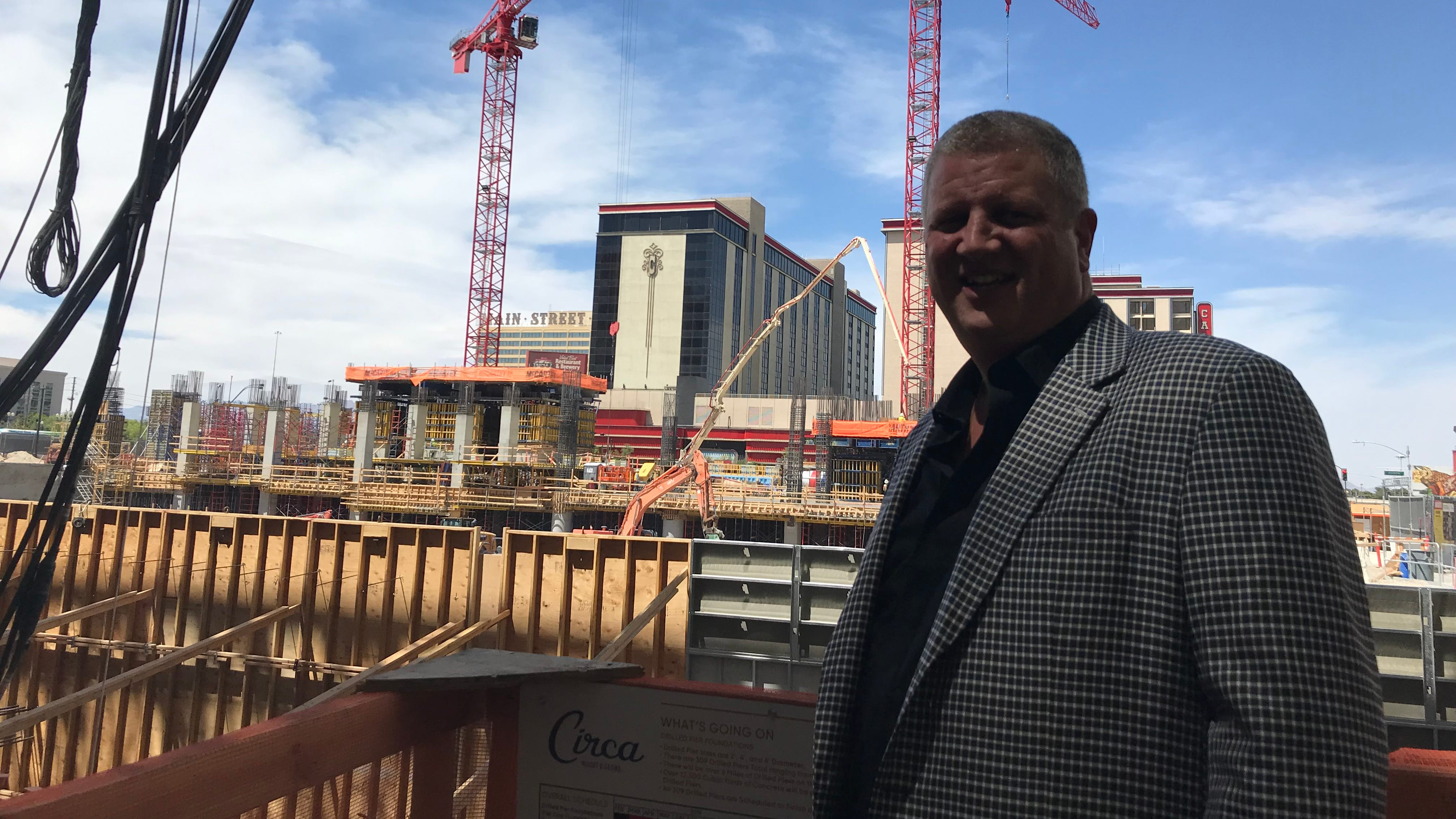Derek Stevens during construction of Circa in June 2019.