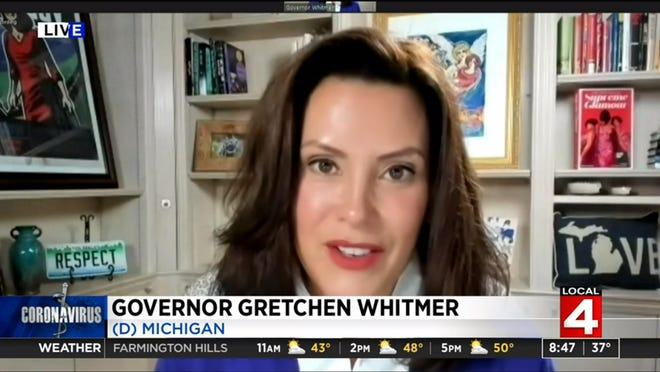Gov. Gretchen Whitmer speaks with WDIV-TV about the uptick in COVID-19 cases during an interview on Sunday, Oct. 25, 2020.