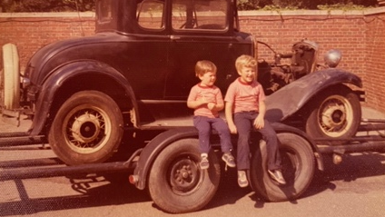 Greg, left, and Derek Stevens as kids in Detroit.