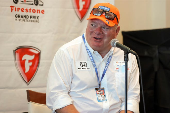 Chip Ganassi speaks about driver Jimmie Johnson joining his IndyCar team for next season at a press conference during the IndyCar race weekend Saturday, Oct. 24, 2020, in St. Petersburg, Fla.