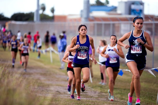 Mason High School's Ana Segura races during the UIL Region IV Class 2A cross country championships Oct. 28, 2019, in Corpus Christi.
