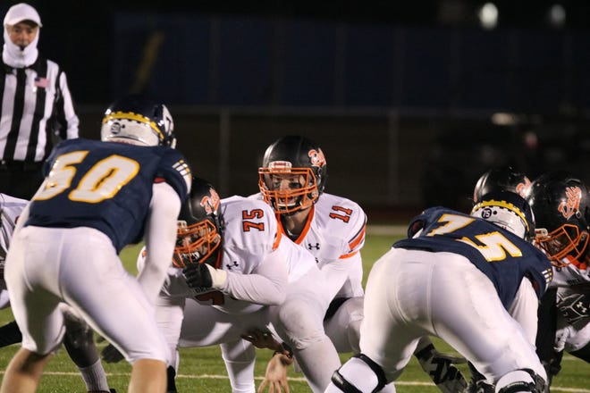 Quarterback Austin Henry  calls out signals for the Dell Rapids offense against Tea Area on Friday, Oct. 23, 2020.