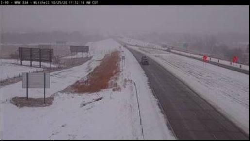 Interstate 90 traffic camera at Mitchell on Sunday morning.