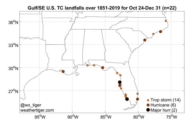 A map of historical tropical cyclone landfalls between late October and Dec. 31.