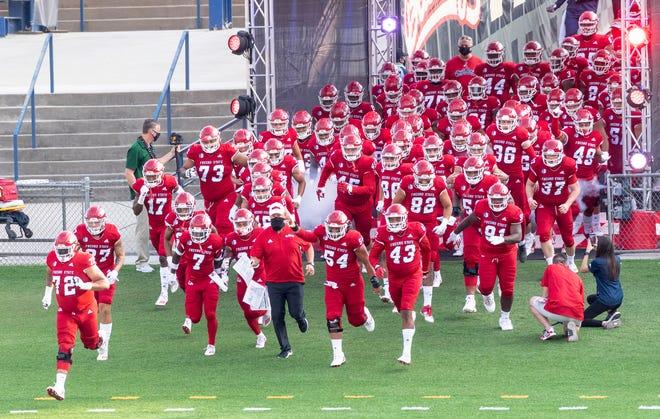 Fresno State football team enters Bulldog Stadium to host Hawaii on Saturday, October 24, 2020.