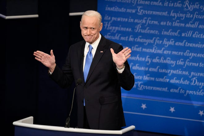 """Jim Carrey's Joe Biden had a Poe-inspired Halloween election message during the """"Saturday Night Live"""" cold open."""