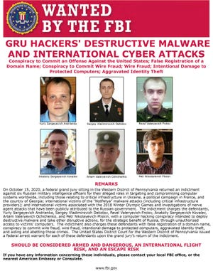 Wanted By the FBI poster for six Russians a federal grand jury indicted Oct. 15, 2020, in connection with a computer hacking conspiracy.