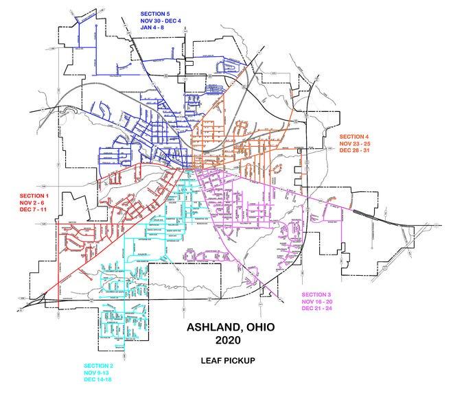 2020 City of Ashland Leaf Pickup Schedule