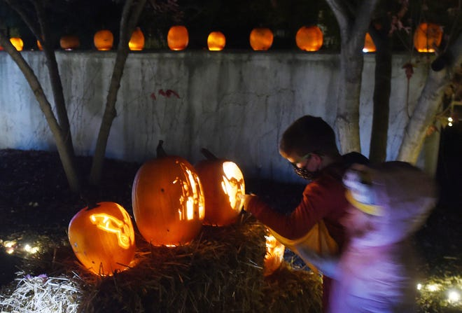 """Children look at the jack-o'lanterns during the """"Spirits in the Gardens"""" event at Reiman Gardens Saturday, Oct. 24, 2020, in Ames, Iowa."""