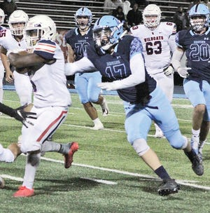Devon Beck, No. 17, is part of Bartlesville High defensive unit that has turned in some mighty play in 2020.