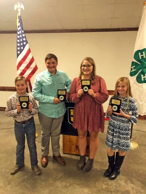 Prairie Hand Helping Hands 4-H Club members received several awards Oct. 18 at Cooper County 4-H Recognition Night. Logan Waibel - Outstanding First Year Boy, Christian Siegel - Outstanding Younger Boy, Shaye Siegel - Outstanding Younger Girl, Avery Sullard - Outstanding First Year Girl.